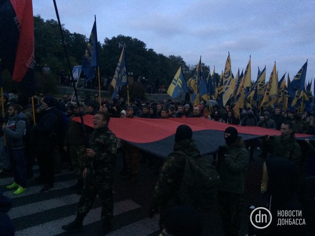«Марш нации»: вКиеве состоялось факельное шествие